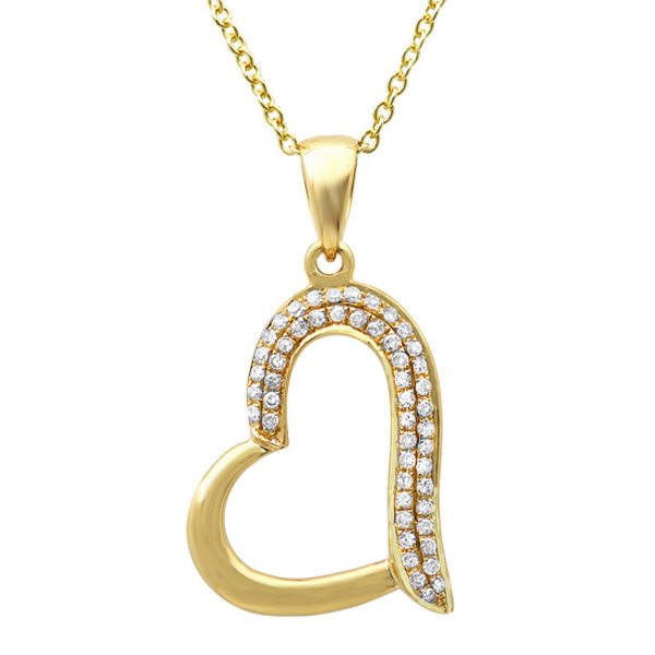 0.13ct 14k Yellow Gold Diamond Heart Pendant Necklace