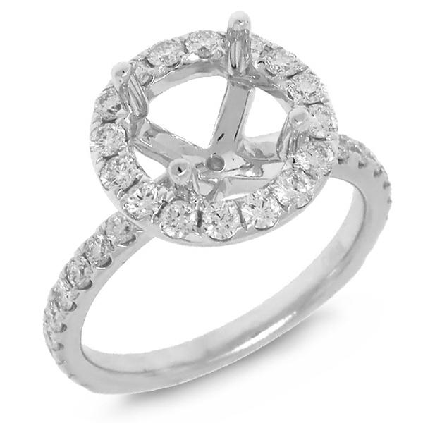 0.86ct 14k White Gold Diamond Semi-mount Ring