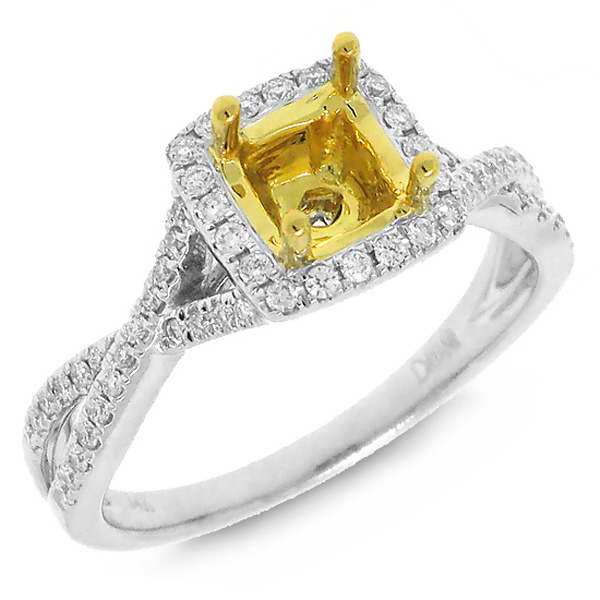 0.27ct 14k Two-tone Gold Diamond Semi-mount Ring