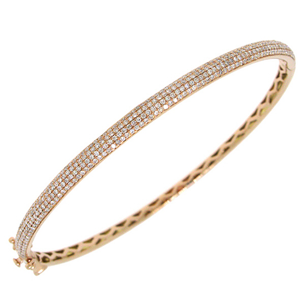 0.85ct 14k Rose Gold Diamond Pave Bangle
