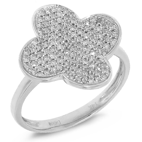0.43ct 14k White Gold Diamond Pave Clover Ring