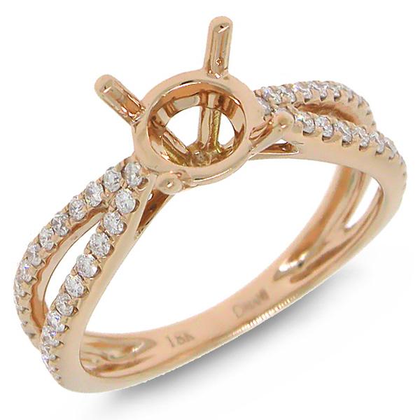 0.33ct 18k Rose Gold Diamond Semi-mount Ring