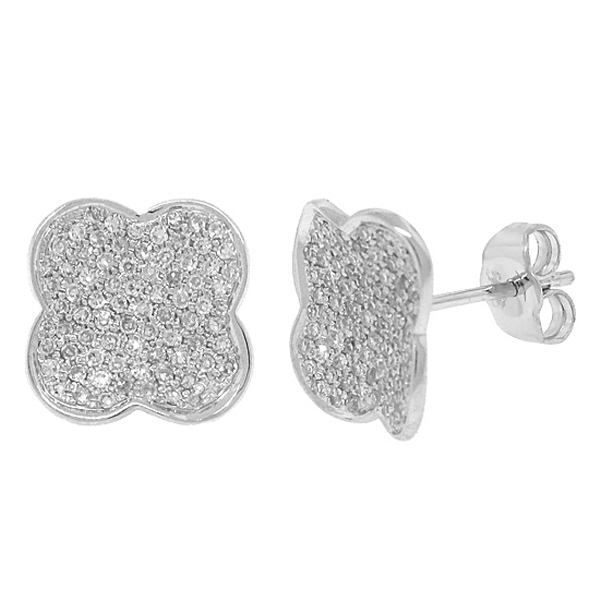 0.53ct 14k White Gold Diamond Pave Clover Earrings