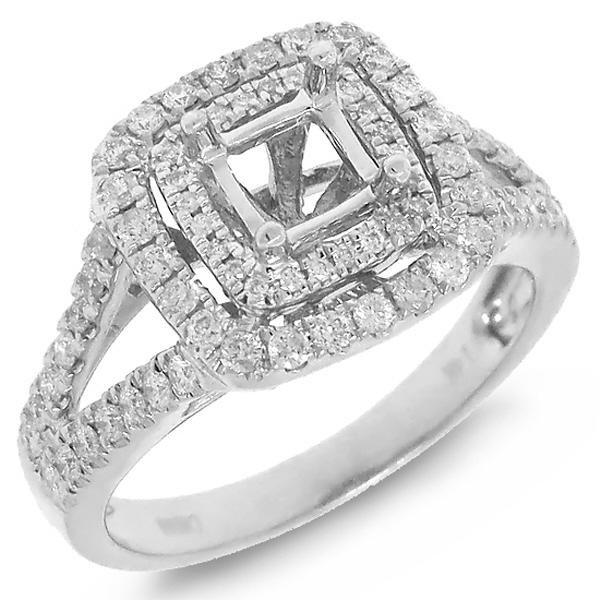 0.57ct 14k White Gold Diamond Semi-mount Ring for 4.5x4.5mm Center