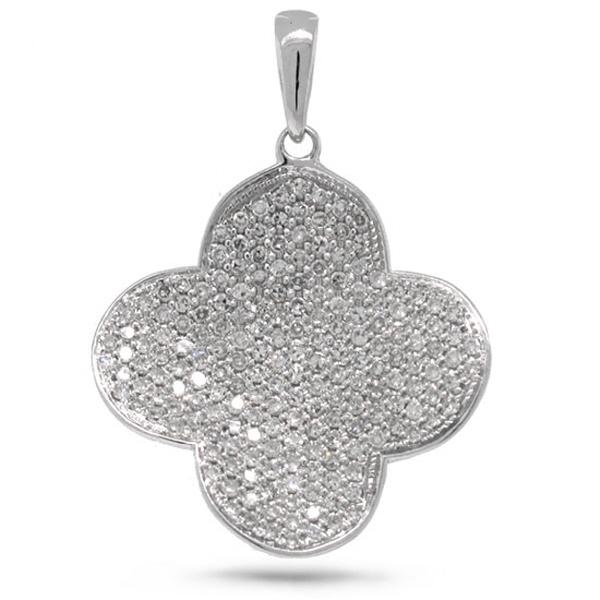 0.66ct 14k White Gold Diamond Pave Clover Pendant Necklace