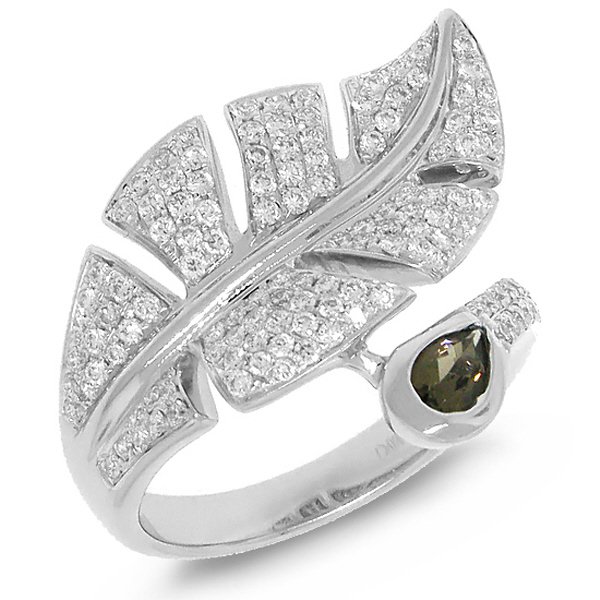 0.84ct Diamond & 0.27ct Smokey Quartz 14k White Gold Leaf Ring
