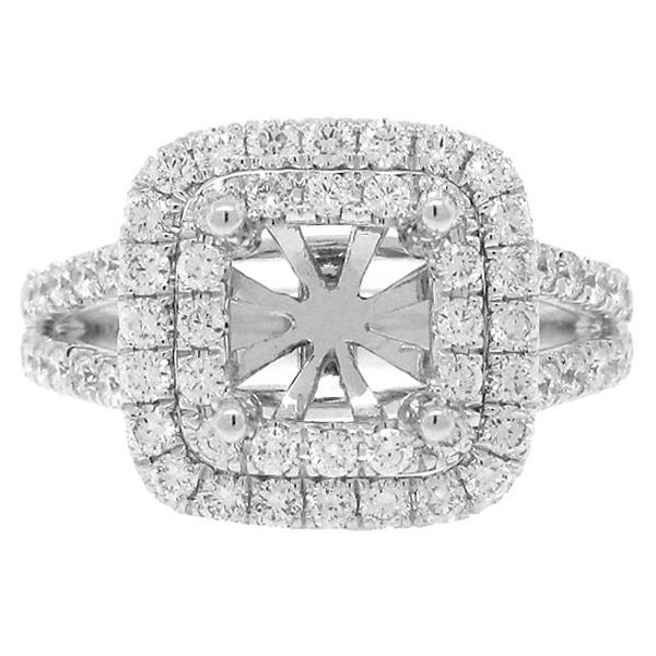 0.93ct 18k White Gold Diamond Semi-mount Ring