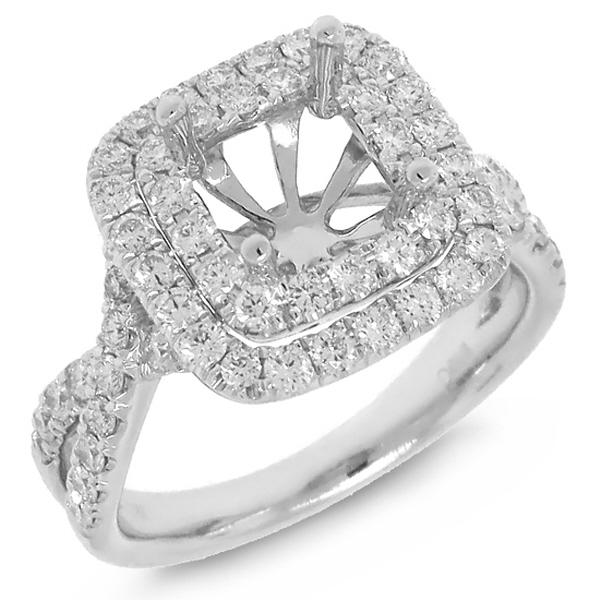0.95ct 18k White Gold Diamond Semi-mount Ring