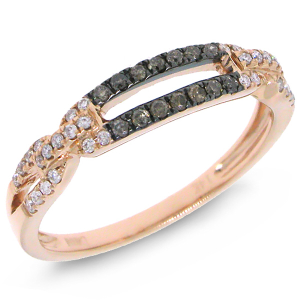 0.23ct 14k Rose Gold White & Champagne Diamond Lady's Ring