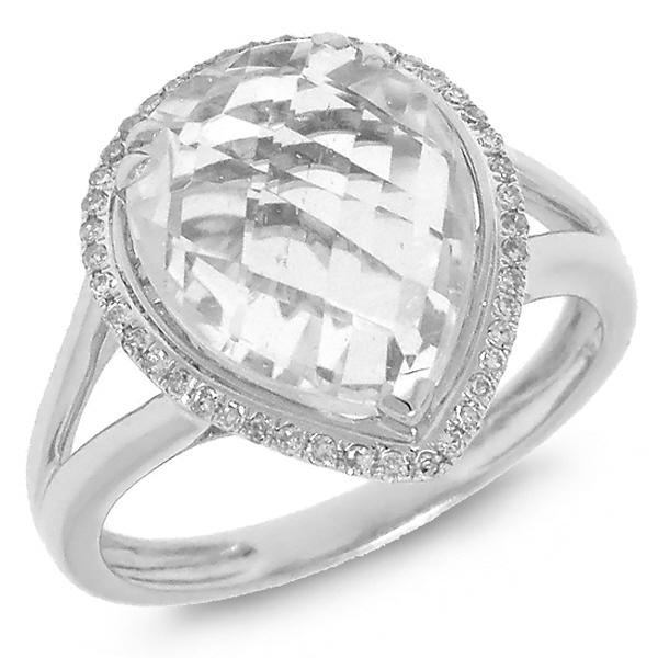 0.11ct Diamond & 6.05ct White Topaz 14k White Gold Ring