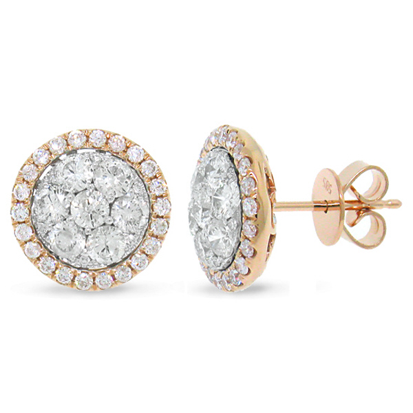 1.62ct 14k Two-tone Rose Gold Diamond Cluster Earrings