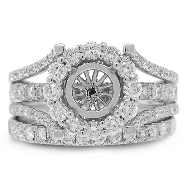 1.16ct 14k White Gold Diamond Semi-mount Ring 2-pc