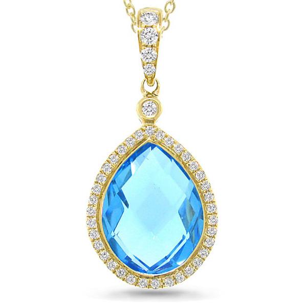 0.17ct Diamond & 6.18ct Blue Topaz 14k Yellow Gold Pendant Necklace