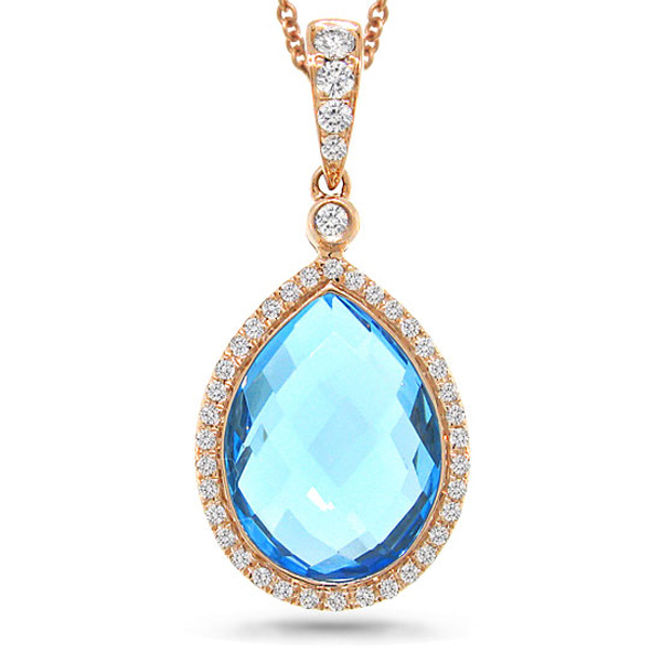 0.17ct Diamond & 6.18ct Blue Topaz 14k Rose Gold Pendant Necklace