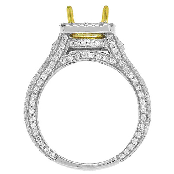 1.00ct 14k Two-tone Gold Diamond Semi-mount Ring