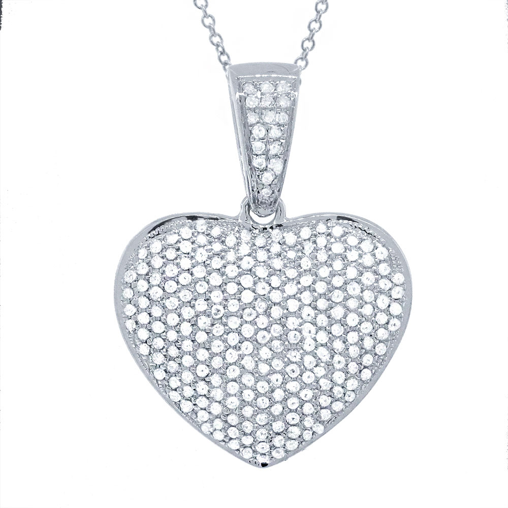 0.59ct 14k White Gold Diamond Pave Heart Pendant Necklace