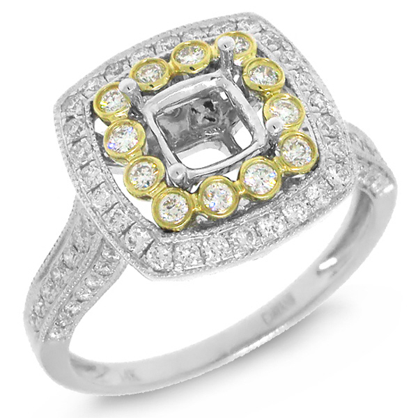 0.60ct 14k Two-tone Diamond Semi-mount Ring