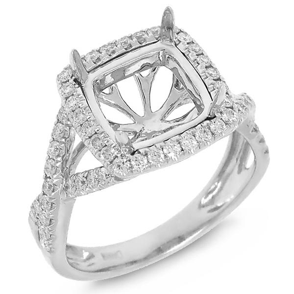 0.53ct 14k White Gold Diamond Semi-mount Ring
