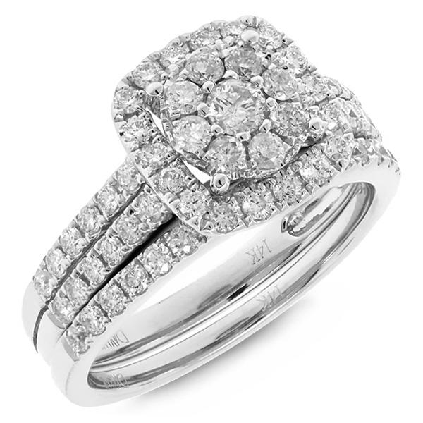 1.06ct 14k White Gold Diamond Lady's Ring 2-pc