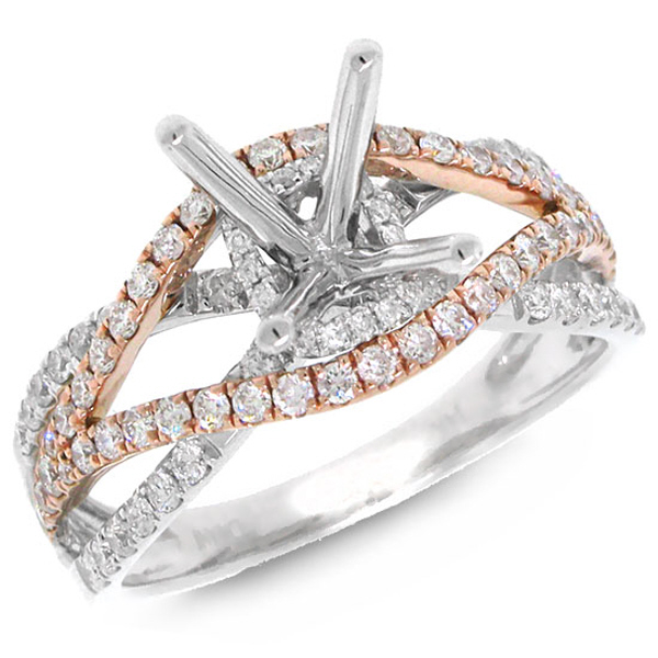0.68ct 14k Two-tone Rose Gold Diamond Semi-mount Ring