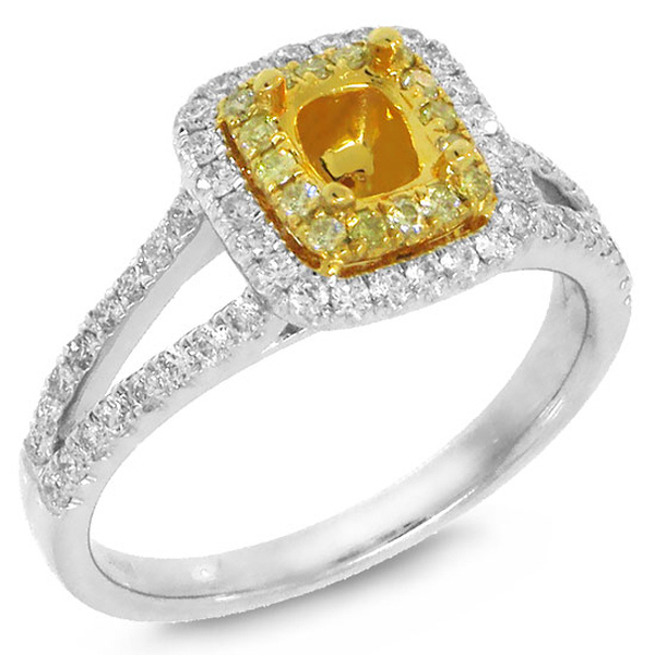 0.56ct 14k Two-tone Gold Diamond Semi-mount Ring