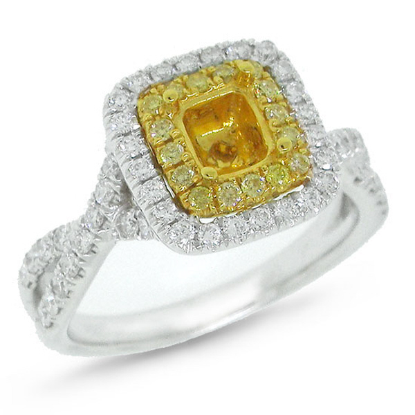 0.66ct 14k Two-tone Gold Diamond Semi-mount Ring