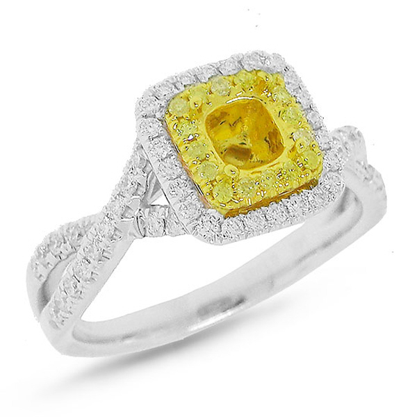 0.51ct 14k Two-tone Gold Diamond Semi-mount Ring