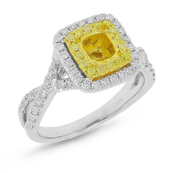 0.61ct 14k Two-tone Gold Diamond Semi-mount Ring