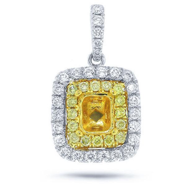 0.35ct 14k Two-tone Gold Diamond Semi-mount Pendant Necklace