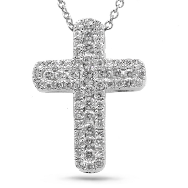 0.48ct 14k White Gold Diamond Cross Pendant Necklace