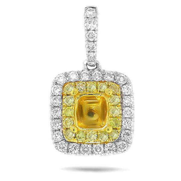 0.36ct 14k Two-tone Gold Diamond Semi-mount Pendant Necklace