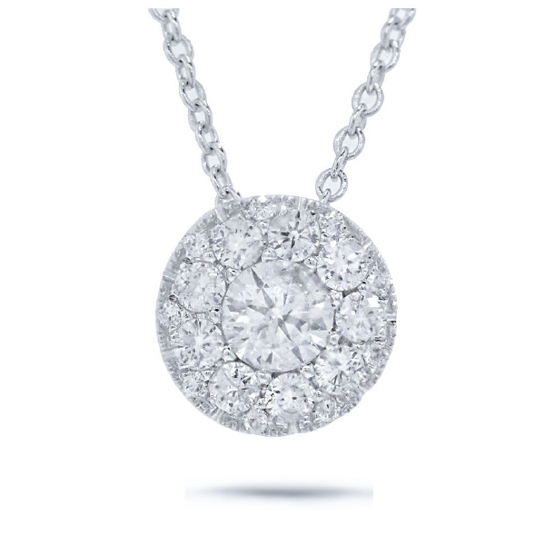 0.17ct Round Brilliant Center And 0.15ct Side 14k White Gold Diamond Pendant Necklace