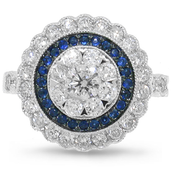 1.16ct Diamond & 0.17ct Blue Sapphire 14k White Gold Ring