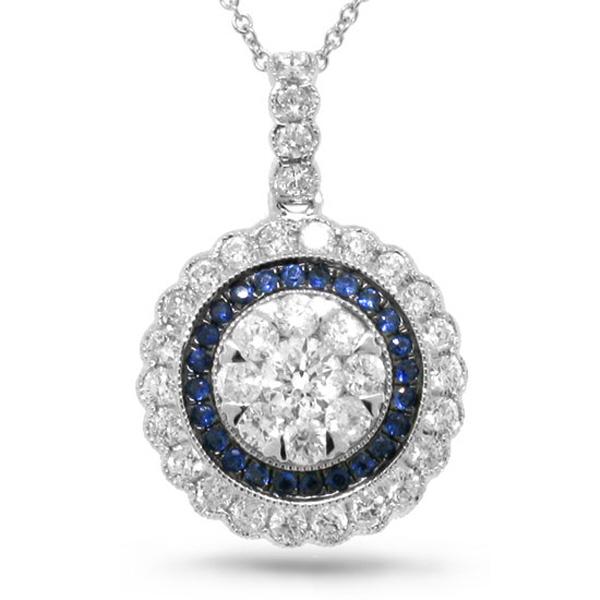 1.08ct Diamond & 0.17ct Blue Sapphire 14k White Gold Pendant Necklace