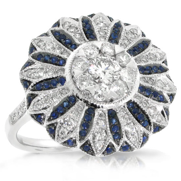 0.84ct Diamond & 0.25ct Blue Sapphire 14k White Gold Ring