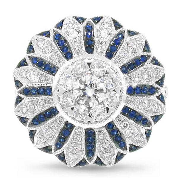 0.84ct Diamond & 0.25ct Blue Sapphire 14k White Gold Ring
