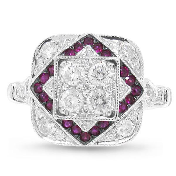 0.75ct Diamond & 0.21ct Ruby 14k White Gold Ring