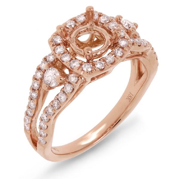 0.70ct 18k Rose Gold Diamond Semi-mount Ring