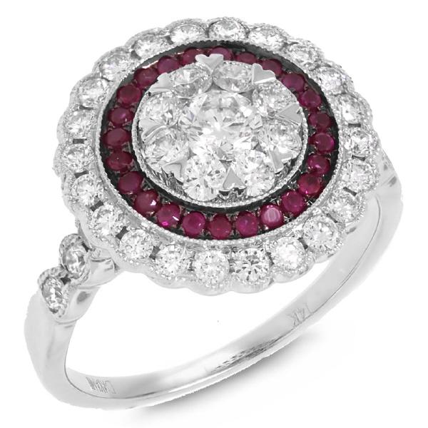 1.16ct Diamond & 0.22ct Ruby 14k White Gold Ring