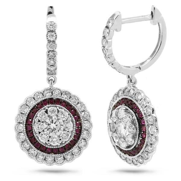 1.46ct Diamond & 0.27ct Ruby 14k White Gold Earrings