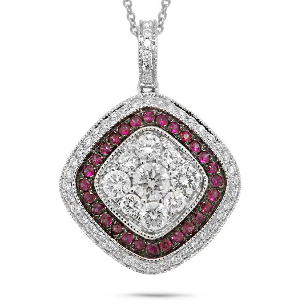 0.81ct Diamond & 0.21ct Ruby 14k White Gold Pendant Necklace
