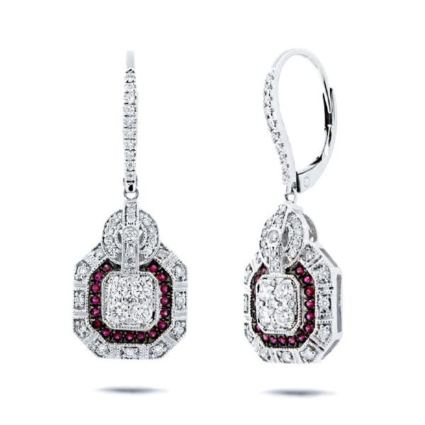 0.72ct Diamond & 0.19ct Ruby 14k White Gold Earrings