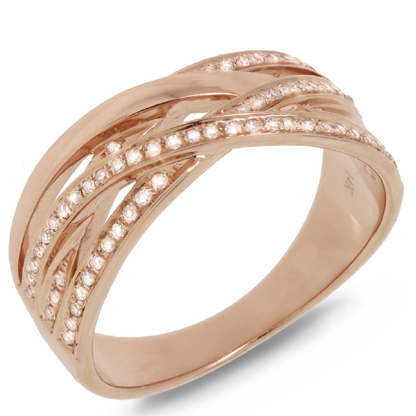 0.18ct 14k Rose Gold Diamond Bridge Ring