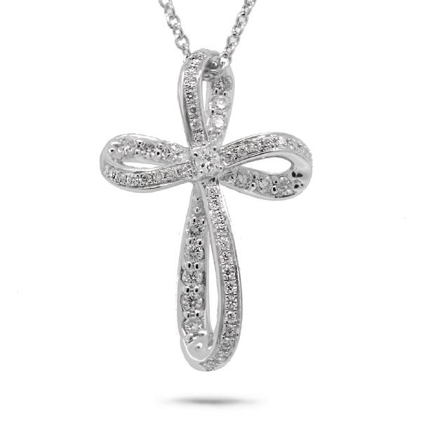 0.23ct 14k White Gold Diamond Cross Pendant Necklace