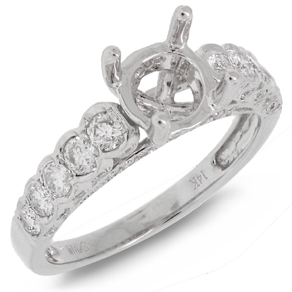 0.77ct 14k White Gold Diamond Semi-mount Ring