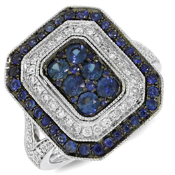 0.41ct Diamond & 1.08ct Blue Sapphire 14k White Gold Ring