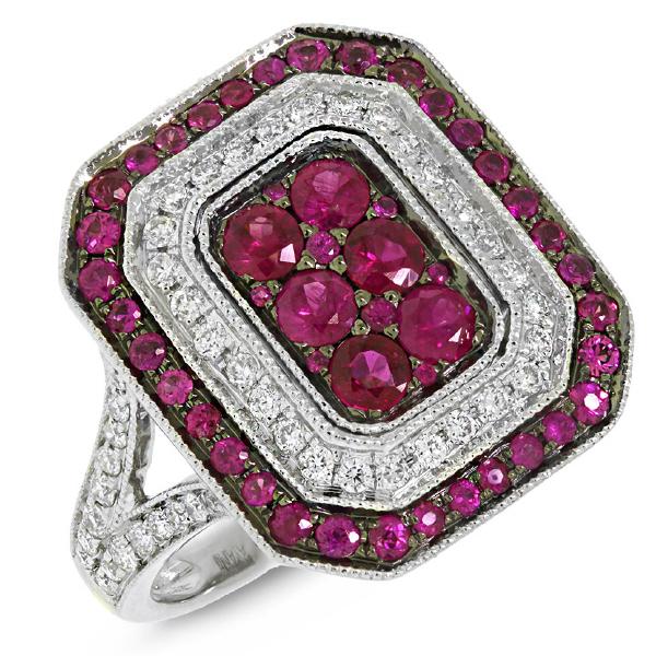 0.41ct Diamond & 1.07ct Ruby 14k White Gold Ring