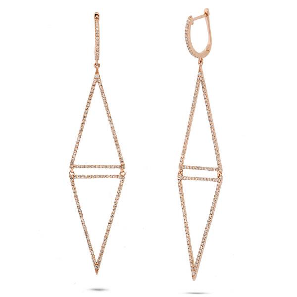 0.98ct 14k Rose Gold Diamond Triangle Earrings