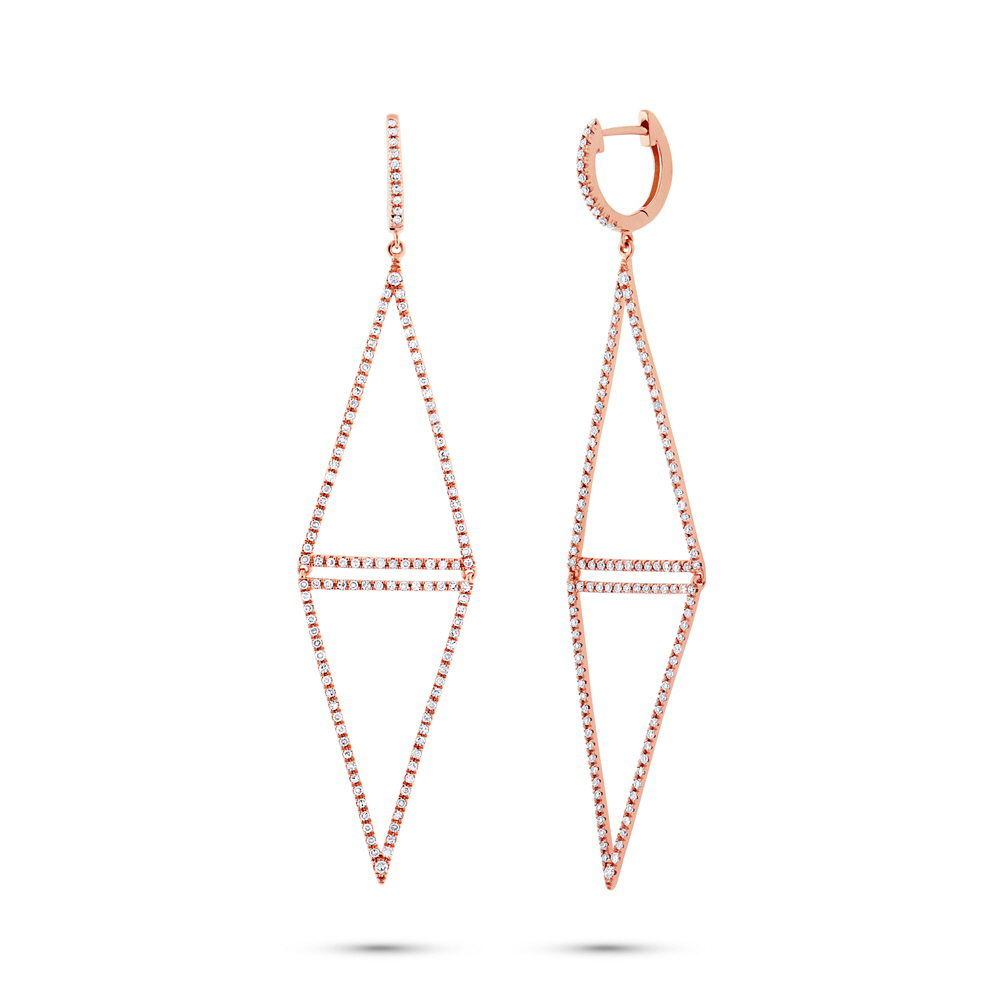 0.89ct 14k Rose Gold Diamond Triangle Earrings