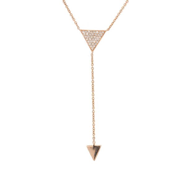 0.10ct 14k Rose Gold Diamond Pave Triangle Lariat Necklace